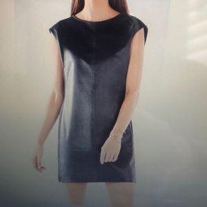 BCBG Karlee Faux Leather Shift Dress - Navy Blue